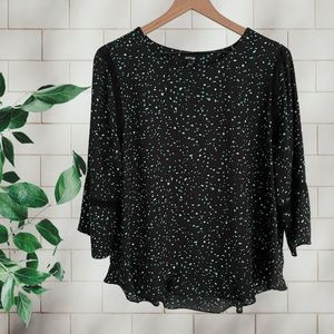 APT 9 Flowy Abstract Dot Blouse with Lace Trim L